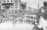 US Military, Infantry. Horse and wagon march. El Paso, Texas.